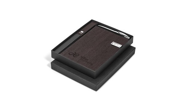 Oakridge Usb Notebook & Power Bank Set - Brown